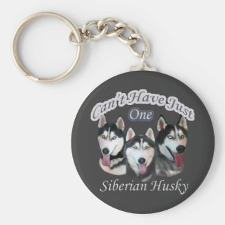Siberian Husky Can't Have Just One Basic Round Button Keychain