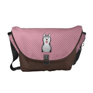 Siberian Husky Cartoon Messenger Bags