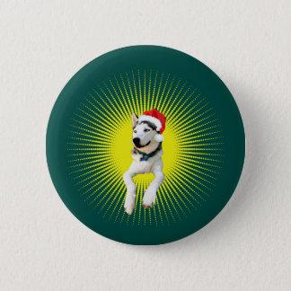 Siberian Husky Christmas 2 Inch Round Button