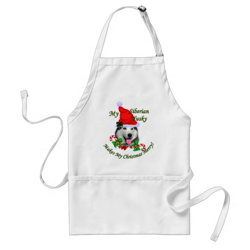 Siberian Husky Christmas Gifts Apron