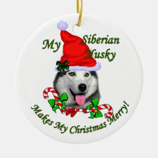 Siberian Husky Christmas Gifts Ornament