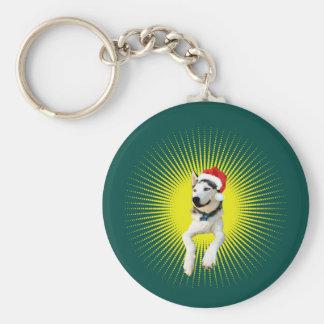 Siberian Husky Christmas Keychain