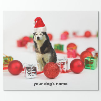 Siberian Husky Christmas Ornament wrapping paper