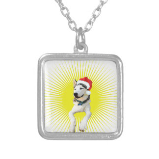 Siberian Husky Christmas Silver Plated Necklace