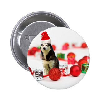 Siberian Husky Christmas with Ornament  Gift Box 2 Inch Round Button