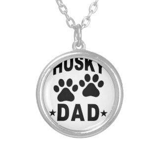 Siberian Husky DAD DOG.png Round Pendant Necklace