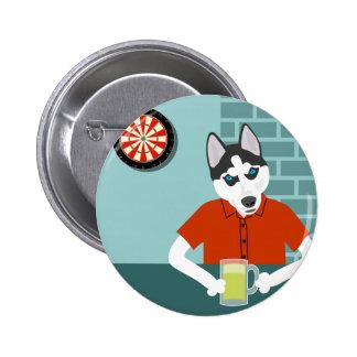 Siberian Husky Dartboard Beer Bar 2 Inch Round Button