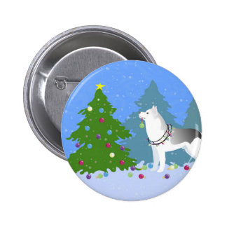 Siberian Husky Decorating Christmas Tree -Forest 2 Inch Round Button