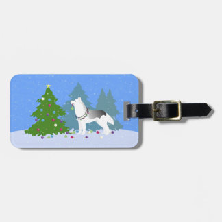 Siberian Husky Decorating Christmas Tree -Forest Luggage Tag