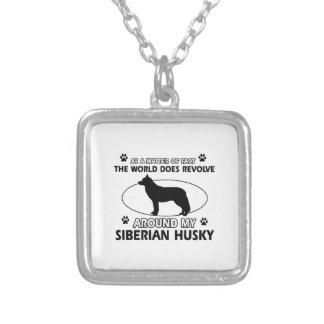 siberian husky designs square pendant necklace