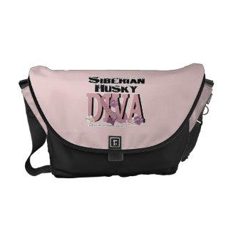 Siberian Husky Diva Messenger Bags