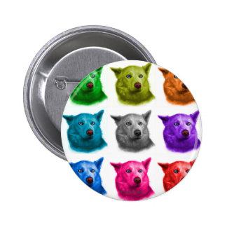 Siberian Husky dog art 2103 WB 2 Inch Round Button