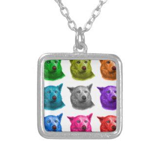 Siberian Husky dog art 2103 WB Square Pendant Necklace