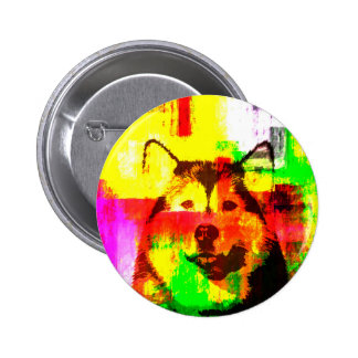 Siberian Husky Dog Art 2 Inch Round Button
