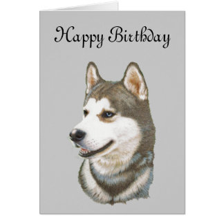 Siberian Husky Dog Art Card