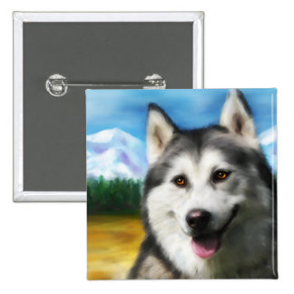 Siberian Husky Dog Art - Solar Pinback Button