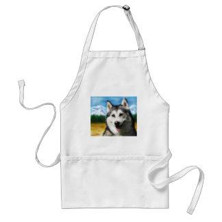 Siberian Husky Dog Art - Solar Standard Apron