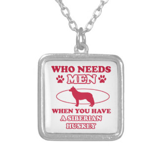 Siberian Husky dog breed designs Square Pendant Necklace