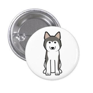 Siberian Husky Dog Cartoon Button