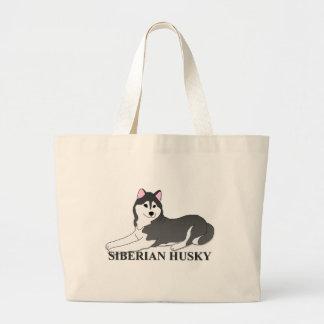 Siberian Husky Dog Cartoon Jumbo Tote Bag