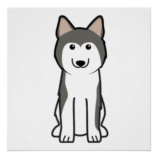Siberian Husky Dog Cartoon Perfect Poster