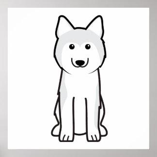 Siberian Husky Dog Cartoon Poster