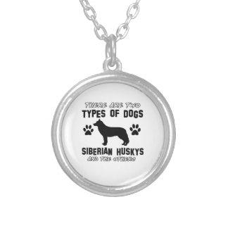 Siberian husky dog Designs Round Pendant Necklace