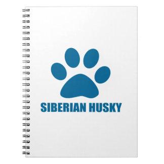 SIBERIAN HUSKY DOG DESIGNS SPIRAL NOTEBOOK