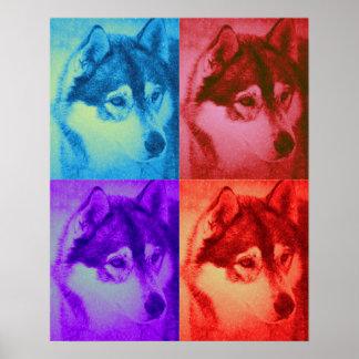 Siberian Husky Dog Four Image Pop Art Poster