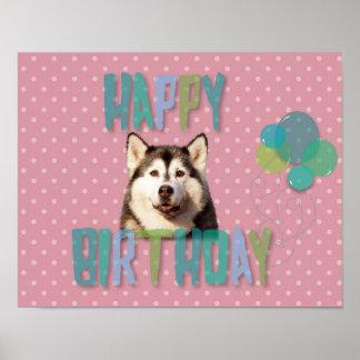 Siberian Husky Dog Happy Birthday Poster