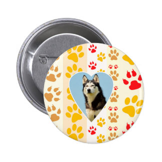Siberian Husky Dog Heart Paws Print 2 Inch Round Button