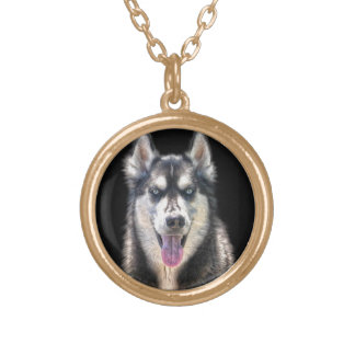 Siberian Husky Dog-lover's Pet Gift Range Gold Plated Necklace
