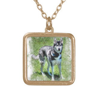 Siberian Husky Dog-lover's Pet Gift Series Gold Plated Necklace
