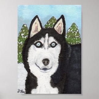 Siberian Husky Dog Mini Folk Art Poster