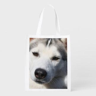 Siberian Husky Dog Photo Market Totes