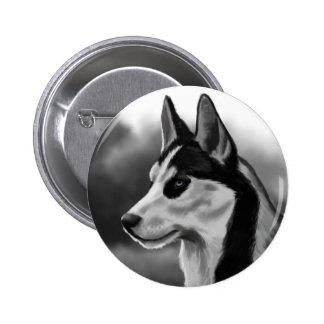 Siberian Husky Dog Portrait Digital Art Pinback Buttons