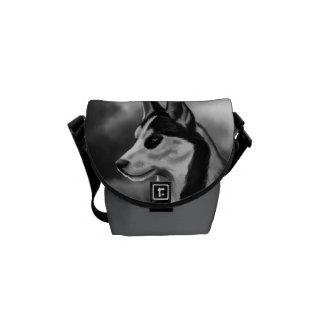 Siberian Husky Dog Portrait Digital Art Commuter Bags