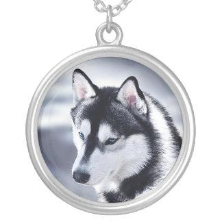 Siberian Husky Dog Portrait Silver Plated Necklace