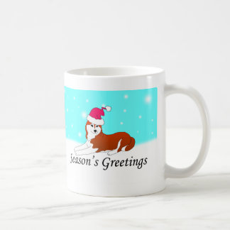 Siberian Husky Dog Santa Coffee Mug