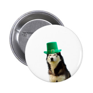 Siberian Husky Dog St. Patrick's day 2 Inch Round Button