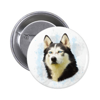 Siberian Husky Dog Water Color Art Painting 2 Inch Round Button