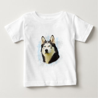 Siberian Husky Dog Water Color Art Painting Baby T-Shirt