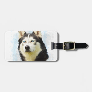 Siberian Husky Dog Water Color Art Painting Bag Tag