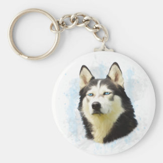 Siberian Husky Dog Water Color Art Painting Basic Round Button Keychain
