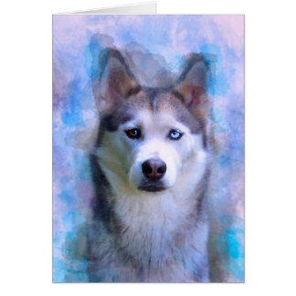 Siberian Husky Dog Water Color Art Painting Card
