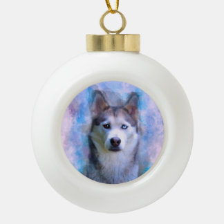 Siberian Husky Dog Water Color Art Painting Ceramic Ball Christmas Ornament