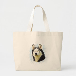 Siberian Husky Dog Water Color Art Painting Large Tote Bag