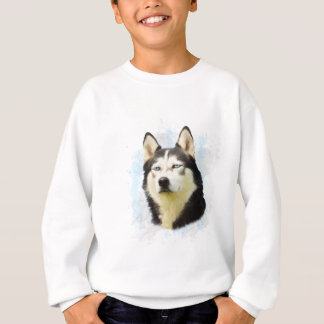 Siberian Husky Dog Water Color Art Painting Sweatshirt