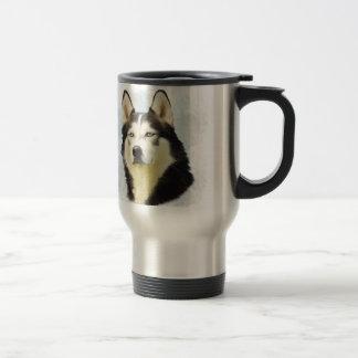 Siberian Husky Dog Water Color Art Painting Travel Mug
