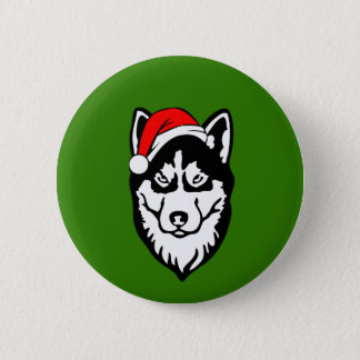Siberian Husky Dog with Christmas Santa Hat 2 Inch Round Button